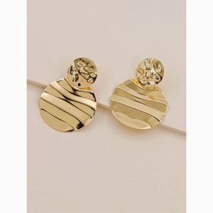 Gold Ribbed Round Disc Drop Statement Earrings